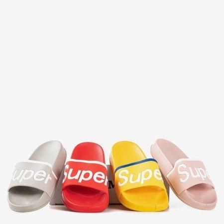 Różowe dziecięce klapki z napisem Super - Obuwie