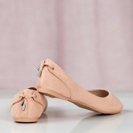 Różowe eko-zamszowe baleriny Fizir - Obuwie