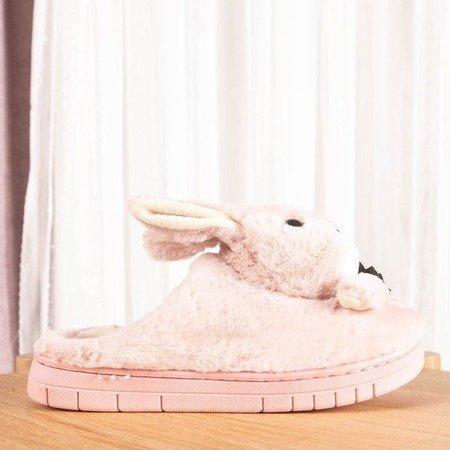 Różowe kapcie z króliczkiem Masia - Obuwie