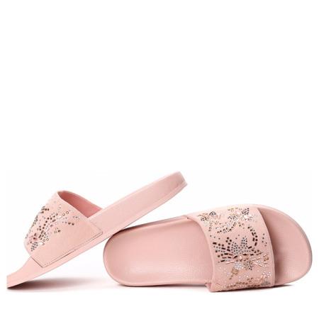 Różowe klapki z cyrkoniami Brielle - Obuwie
