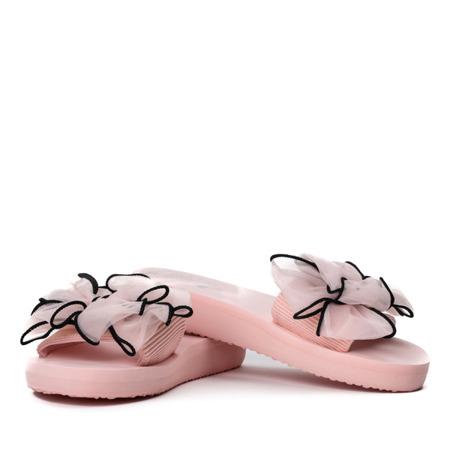 Różowe klapki z kokardką Assemini - Obuwie