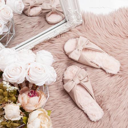 Różowe klapki z kokardką Pancina - Obuwie