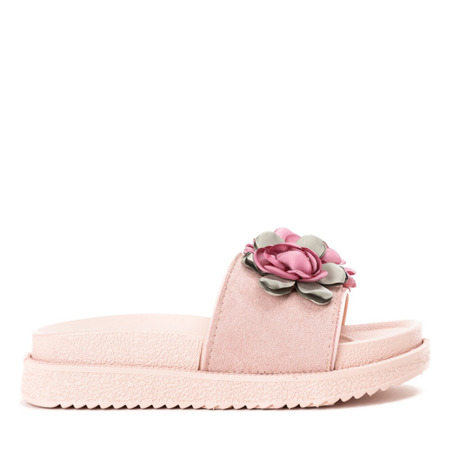 Różowe klapki z kwiatkami Flemington - Obuwie