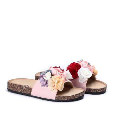 Różowe klapki z ozdobnymi kwiatkami Vilena - Obuwie