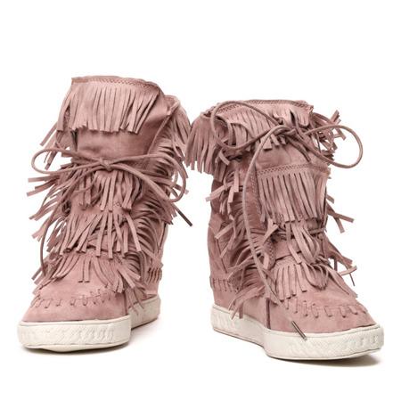 Różowe sneakersy na krytym koturnie z frędzlami - Obuwie