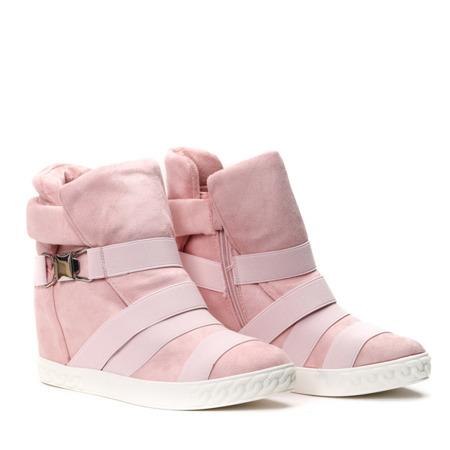 Różowe sneakersy na krytym koturnie z ozdobnymi paskami Petiena - Obuwie