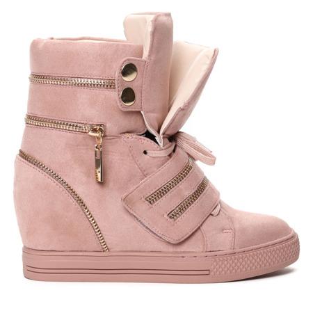 Różowe sneakersy na krytym koturnie z suwakami Erica- Obuwie