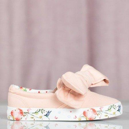 Różowe tenisówki z kwiatowym printem Luciessa - Obuwie