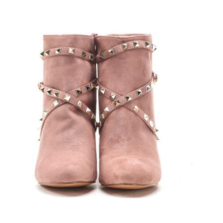Różowe zamszowe botki na słupku - Obuwie