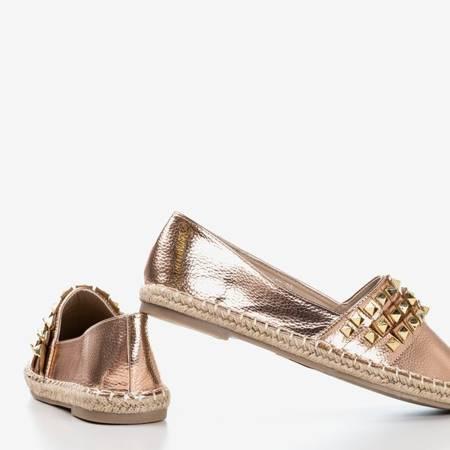 Różowo-złote damskie espadryle z ćwiekami Anchu - Obuwie