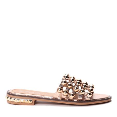 Różowo-złote klapki z dżetami Icaria - Obuwie