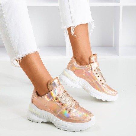 Różowo - złote sneakersy damskie z holograficznym wykończeniem That's You - Obuwie