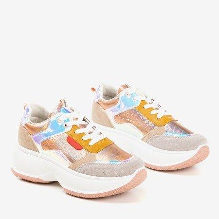 Różowo - złote sportowe sneakersy z kolorowymi wstawkami Lingi - Obuwie
