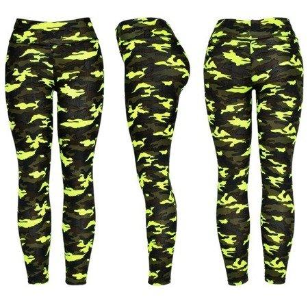 Sportowe legginsy w neonowe zielone moro - Spodnie
