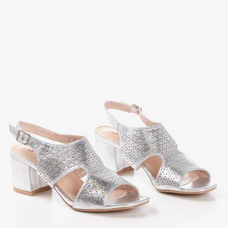 Srebrne ażurowe sandały na słupku Azuur - Obuwie