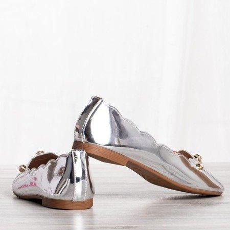 Srebrne baleriny z ozdobami Kassy - Obuwie