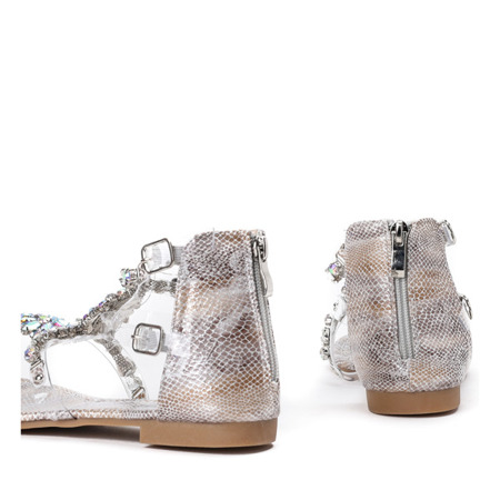 Srebrne sandały japonki z cyrkoniami Marcela - Obuwie