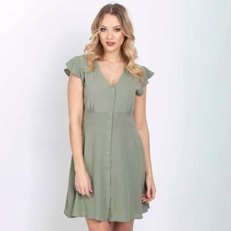 Sukienka w kolorze khaki zapinana na guziki - Odzież