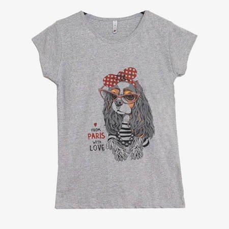 Szara damska koszulka z nadrukiem pieska - Odzież