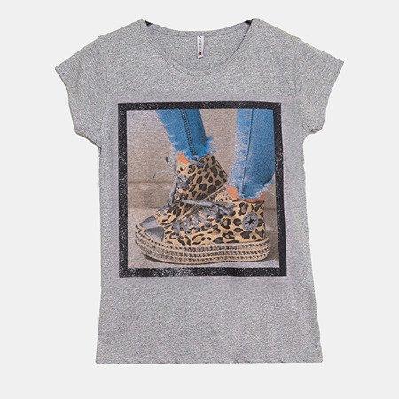 Szara koszulka z krótkim rękawem - Bluzki