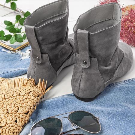Szare botki na płaskim obcasie Esha - Obuwie