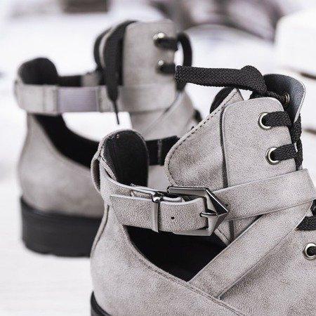 Szare botki na płaskim obcasie z wycięciem Ensley - Obuwie