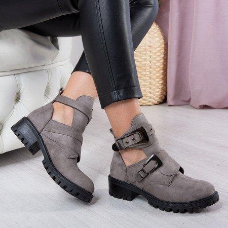 Szare botki na płaskim obcasie z wycięciem Iryna - Obuwie