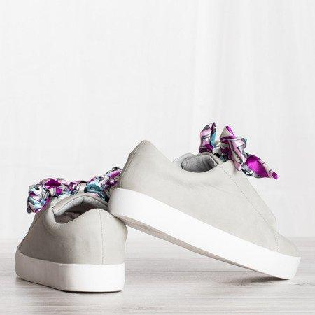 Szare buty sportowe sznurowane wstążką Duet - Obuwie