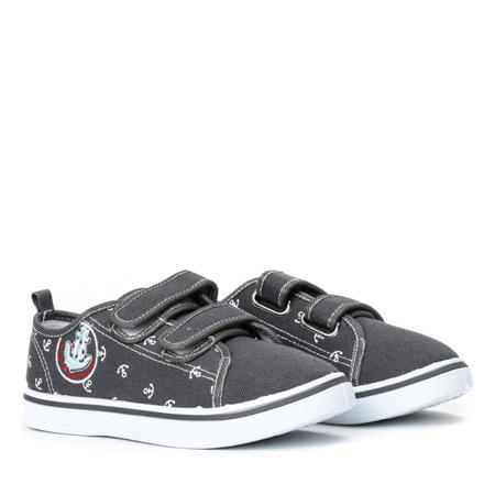 Szare chłopięce buty na rzepy Hookie - Obuwie
