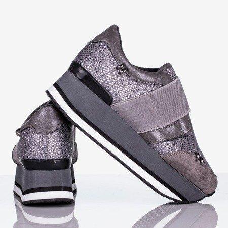 Szare damskie buty sportowe na platformie Erin - Obuwie