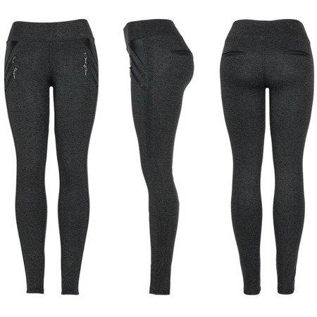 Szare legginsy z suwakami - Spodnie
