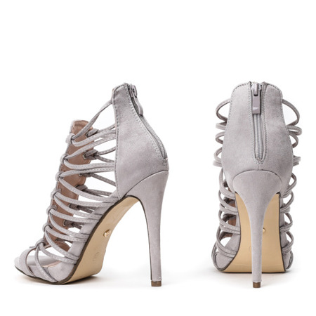 Szare sandały na szpilce Parecia - Obuwie
