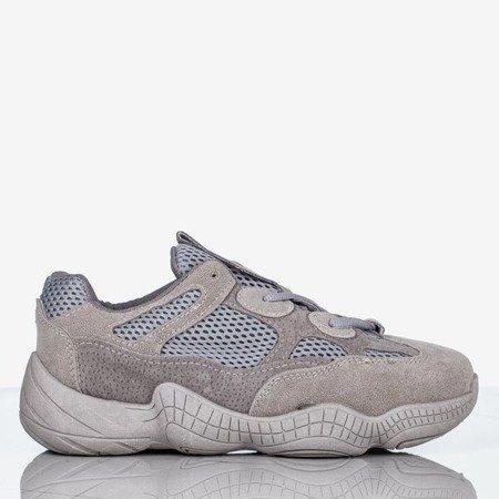 Szare  sneakersy damskie na grubej podeszwie Crisscross - Obuwie