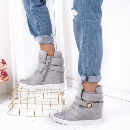 Szare sneakersy na krytej koturnie Jane - Obuwie