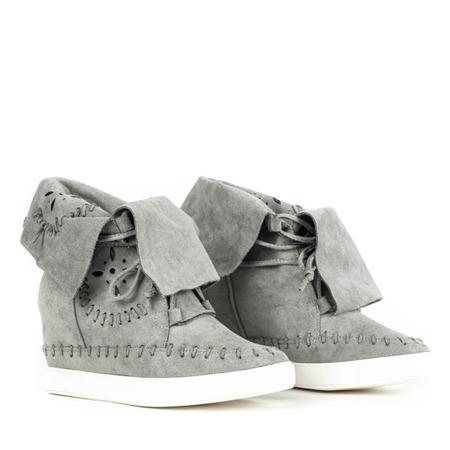 Szare sneakersy na krytym koturnie Cinta - Obuwie