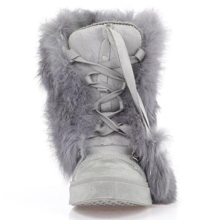 Szare sneakersy z futerkiem - Obuwie