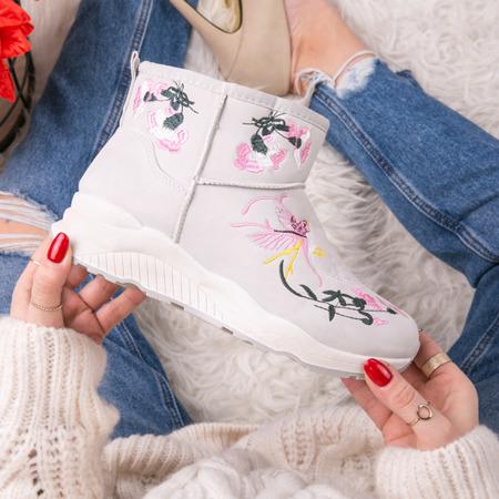 Szare śniegowce z haftem Lilah - Obuwie