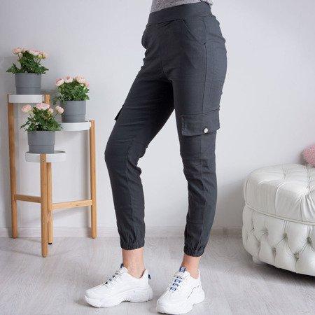 Szare spodnie cargo damskie - Spodnie