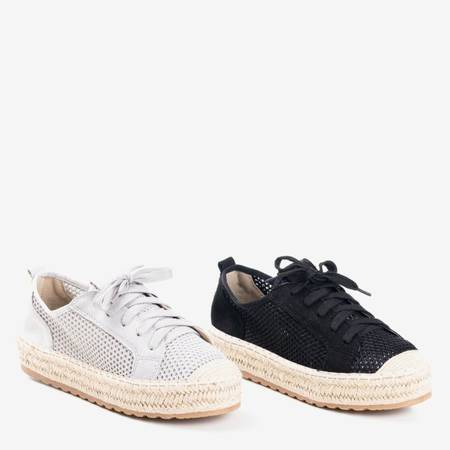 Szare tenisówki typu espadryle na platformie Dendi - Obuwie