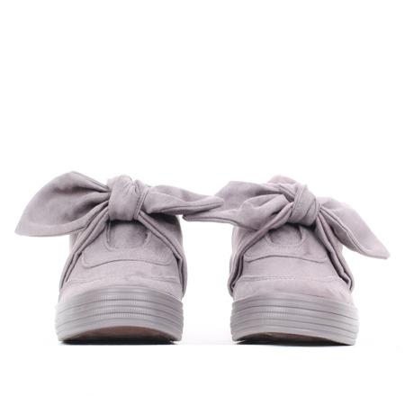 Szare trampki z kokardą - Obuwie
