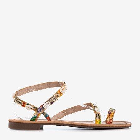Wielokolorowe sandały damskie z muszelkami Melreu - Obuwie