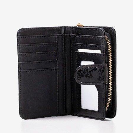 Wzorzysty mały portfel damski w kolorze czarnym - Portfel