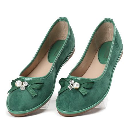 Zielone baleriny z kokardką Braila - Obuwie