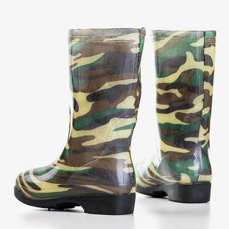 Zielone damskie kalosze we wzór moro Kampena - Obuwie