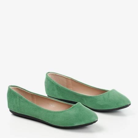 Zielone eko-zamszowe damskie baleriny Mariusa - Obuwie