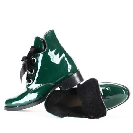 Zielone, lakierowane botki Obuwie Zielony | Royalfashion