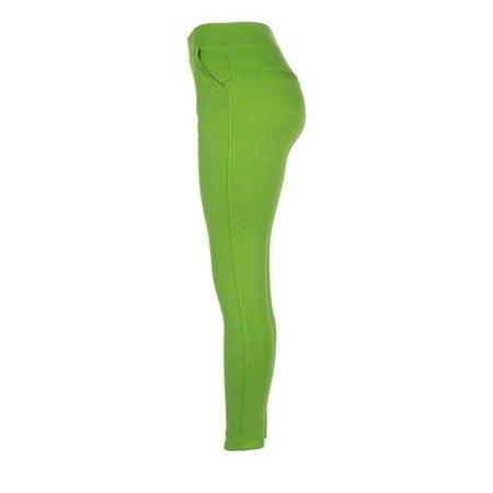 Zielone legginsy z kieszeniami - Spodnie