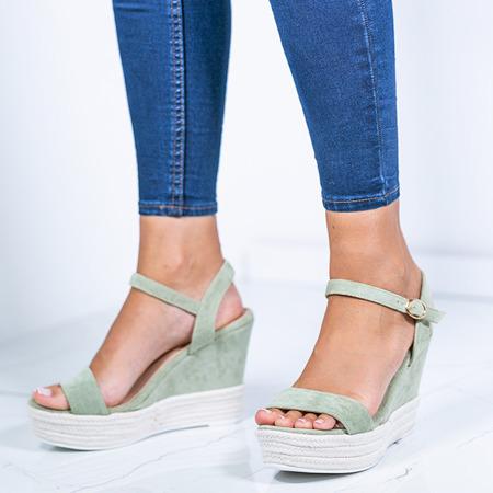 Zielone sandały na koturnie Jokin- Obuwie