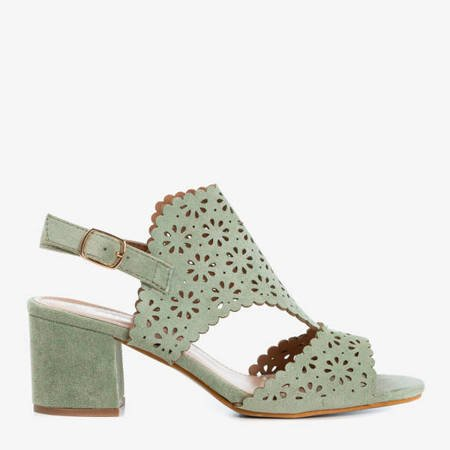 Zielone sandały z ażurową cholewką Nord - Obuwie