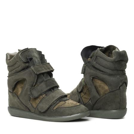 Zielone sneakersy na koturnie Ilona- Obuwie